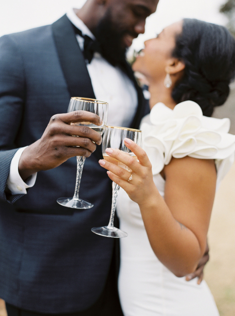 Champagne Cheers Newlyweds