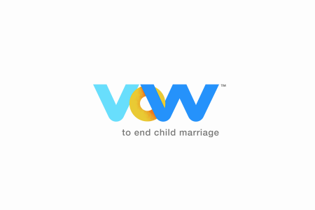 VOW to end child marriage logo with white background