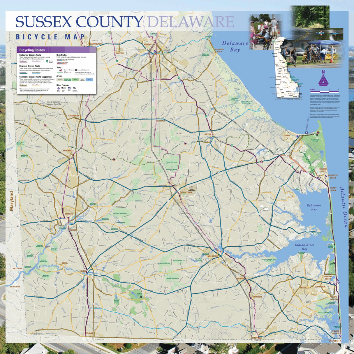 Delaware Traffic Map.Sussex County Delaware Bicycle Map Avenza Systems Inc Avenza Maps