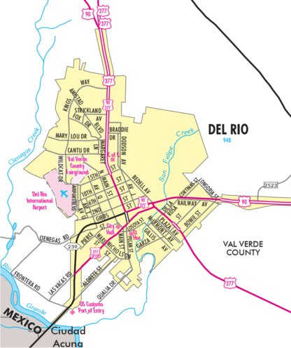 Highway Map Of Del Rio Texas Avenza Systems Inc