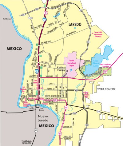 Laredo Texas Map Highway Map of Laredo   Texas   Avenza Systems Inc.   Avenza Maps