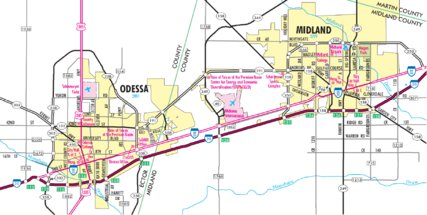 Highway Map of Midland and Odessa Texas Avenza Systems Inc