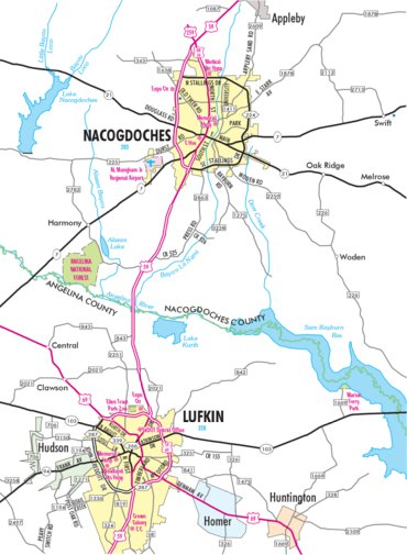 Nacogdoches Texas Map Highway Map of Lufkin and Nacogdoches   Texas   Avenza Systems Inc