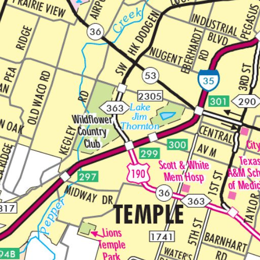 Highway Map of Temple - Texas Area - Avenza Systems Inc. - Avenza Maps