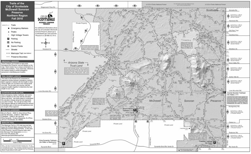 Map Of Northern Arizona Cities.Trails Of The City Of Scottsdale Mcdowell Sonoran Preserve
