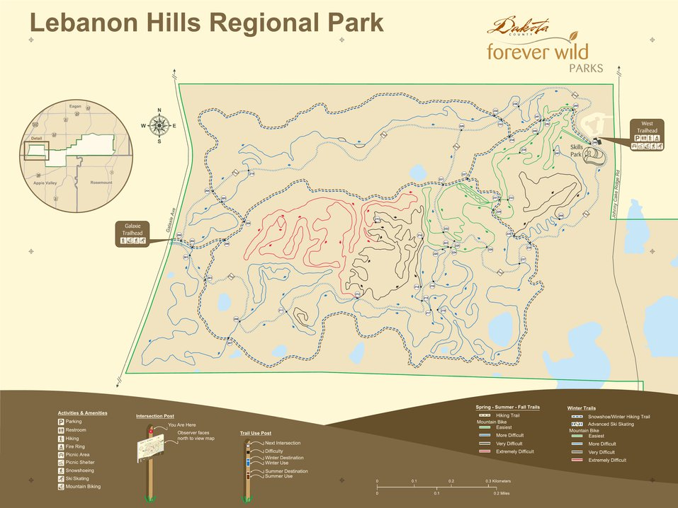 Lebanon Hills Map Lebanon Hills Regional Park (West)   Mt Bike All Season Sign