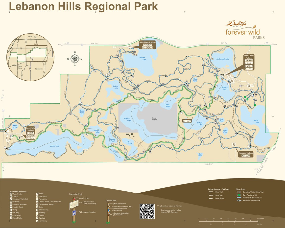 Lebanon Hills Map Lebanon Hills Regional Park (East)   All Season Sign   Dakota