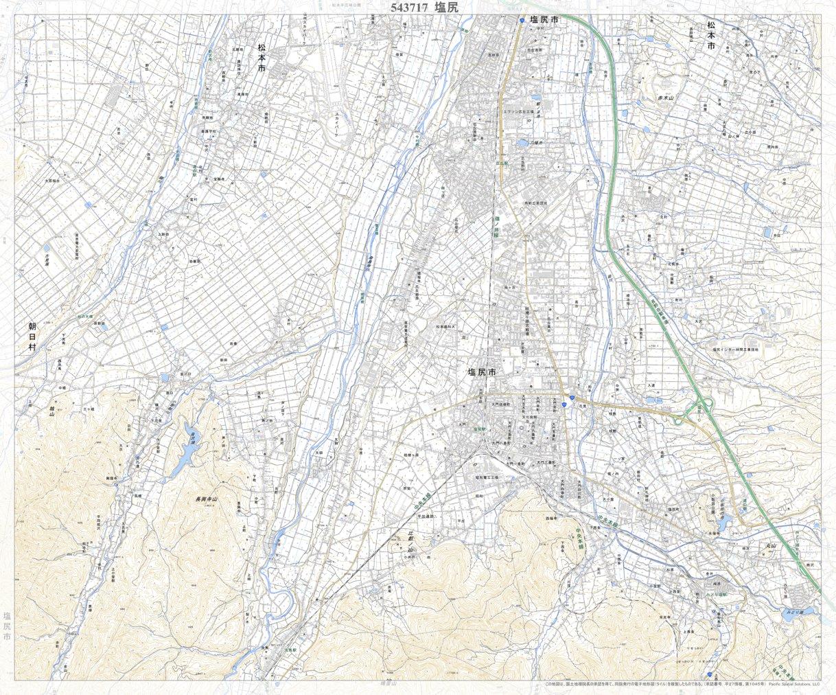 543717 塩尻(しおじり Shiojiri), 地形図