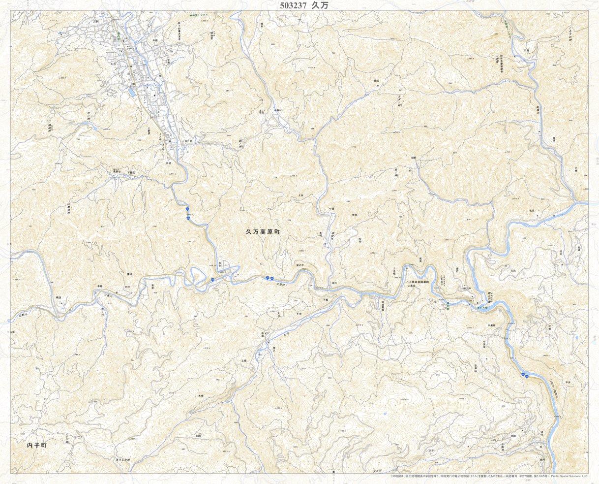 503237 久万 (くま Kuma), 地形図