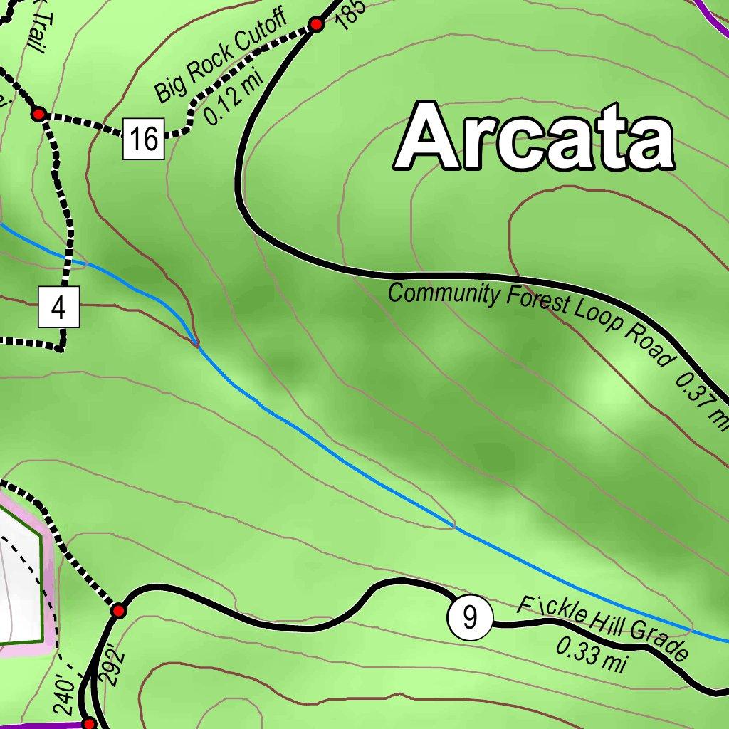 Arcata Community Forest Arcata Ridge Trail Map City of Arcata