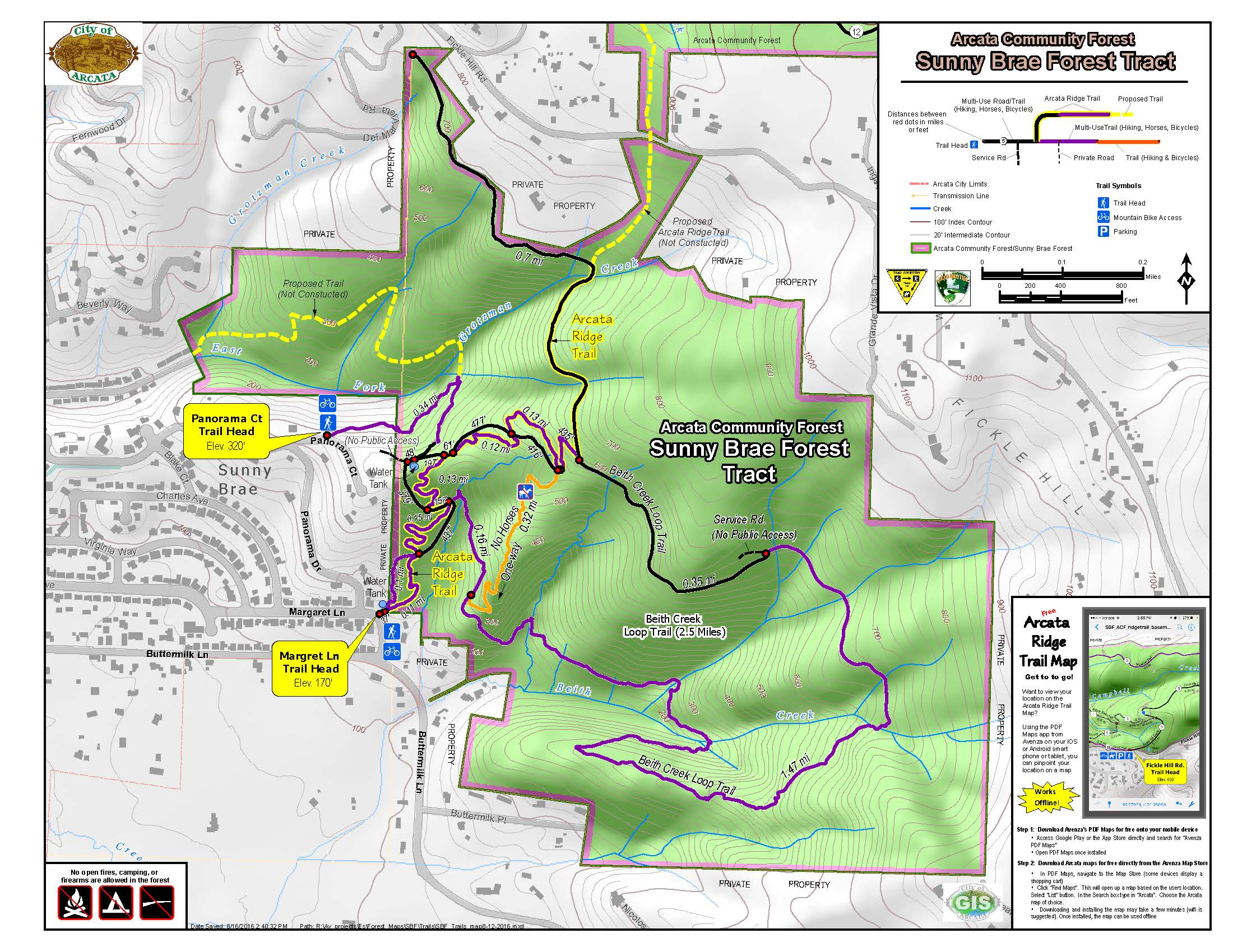 Sunny Brae Forest Trails Map City of Arcata Avenza Maps