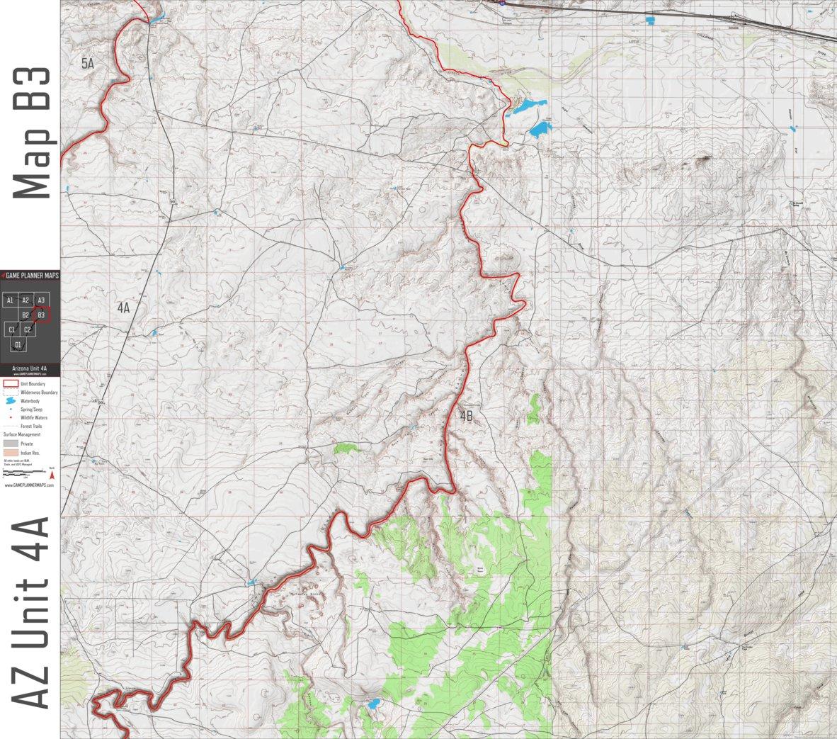 Map Of Unit 4a Arizona.Arizona Unit 4a Game Planner Maps Avenza Maps