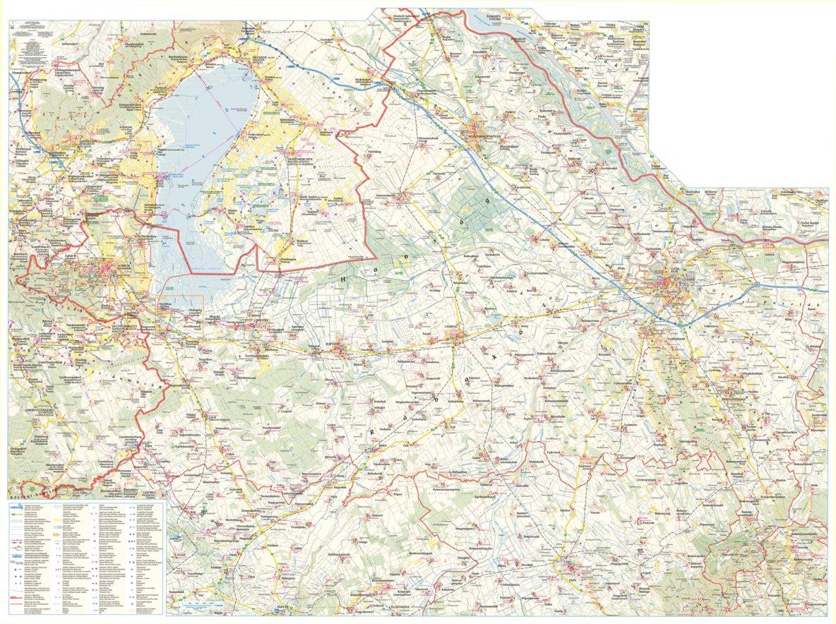 Gyor Moson Sopron Megye Turista Biciklis Terkep Tourist And