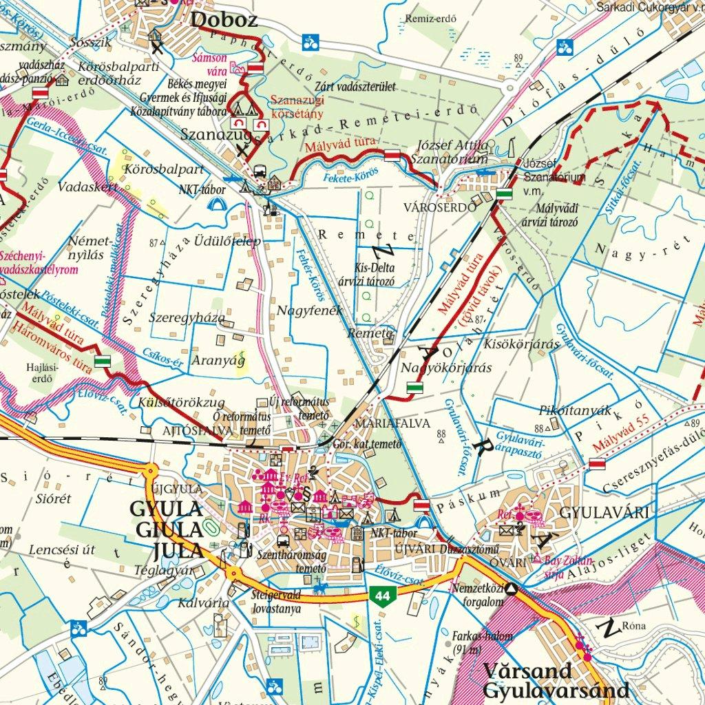 Bekes Megye Turista Biciklis Terkep Tourist And Biking Map