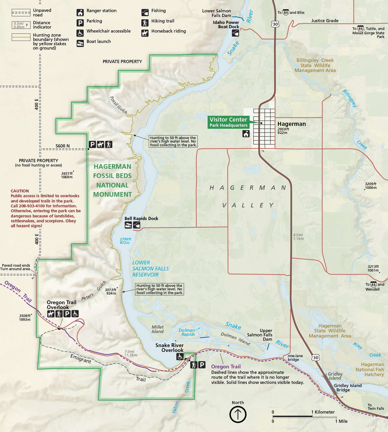 Hagerman Idaho Map.Hagerman Fossil Beds National Monument Us National Park Service