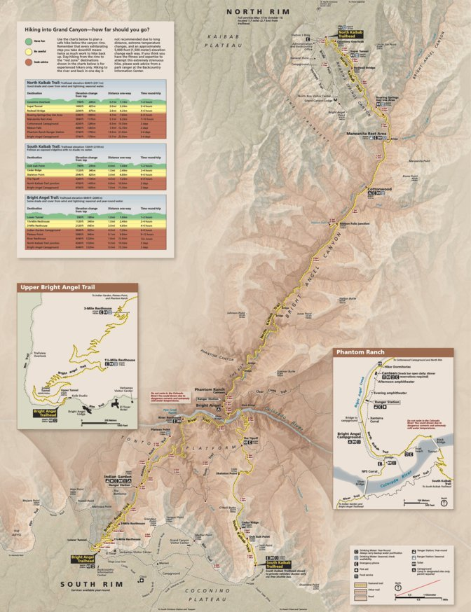 Grand Canyon Hiking Map - US National Park Service - Avenza Maps