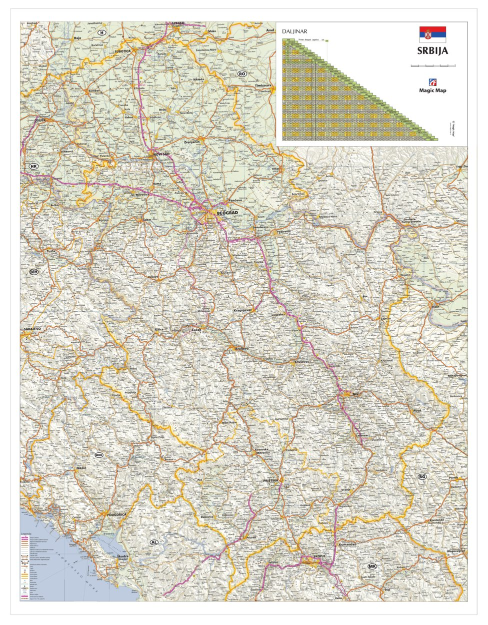 auto karta srbije daljinomer Srbija auto karta   Geoforma FZE   Avenza Maps auto karta srbije daljinomer
