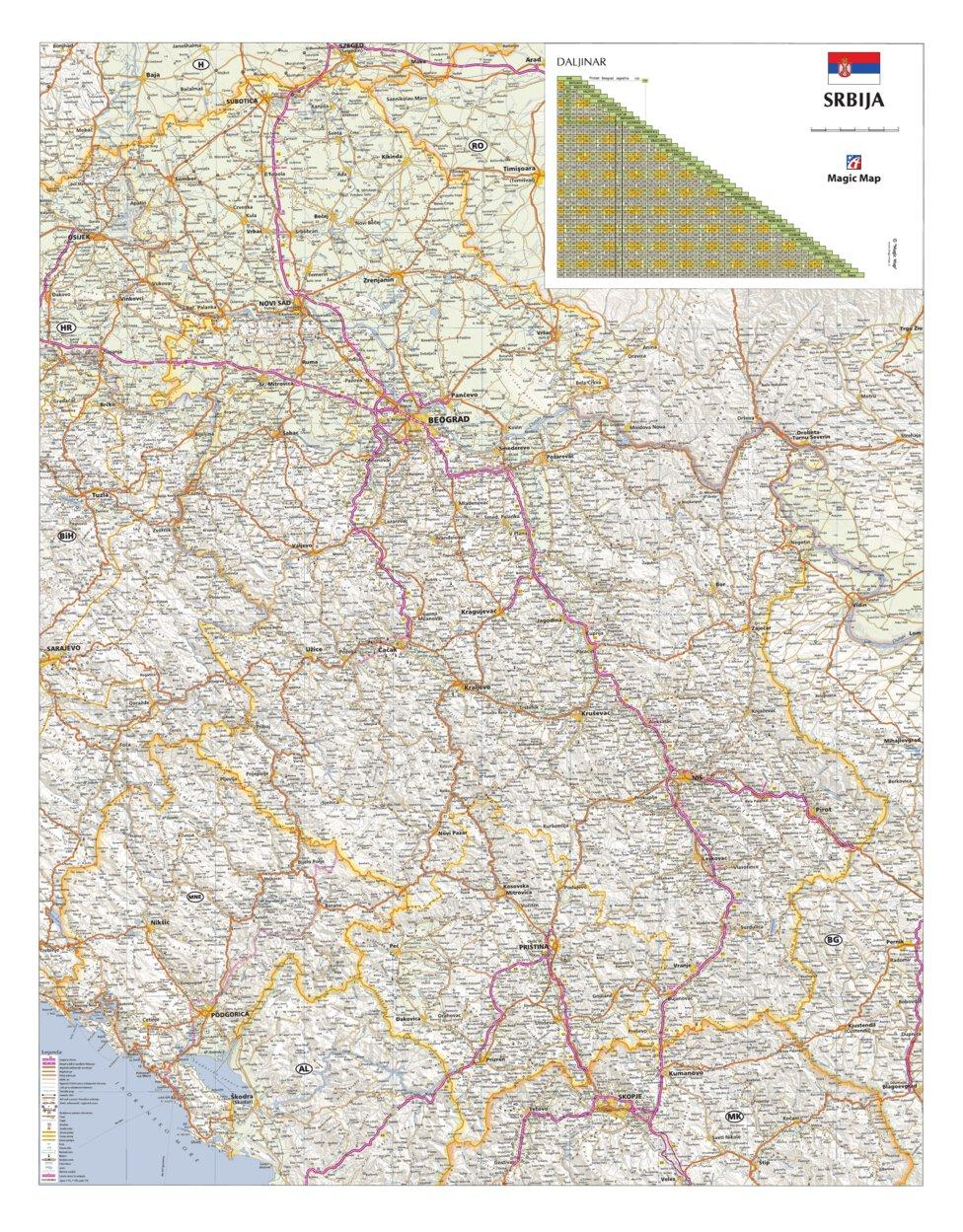 Srbija Auto Karta Geoforma Fze Avenza Maps