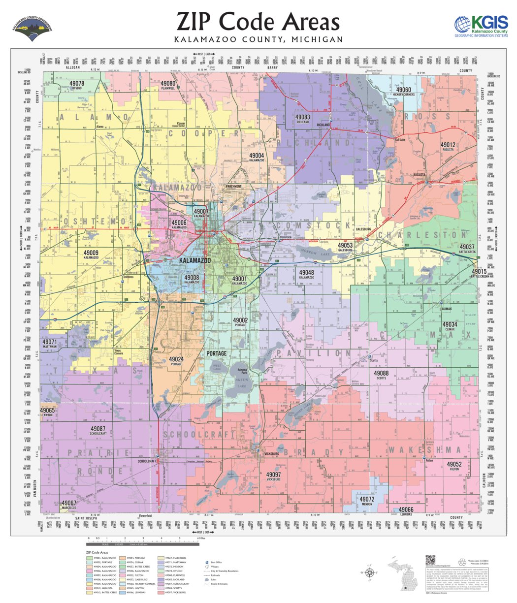 Kalamazoo Zip Code Map Kalamazoo County ZIP Code Areas 2016   Kalamazoo County   Avenza Maps