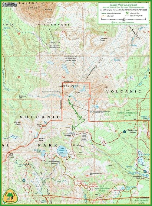 Lassen Peak trail map