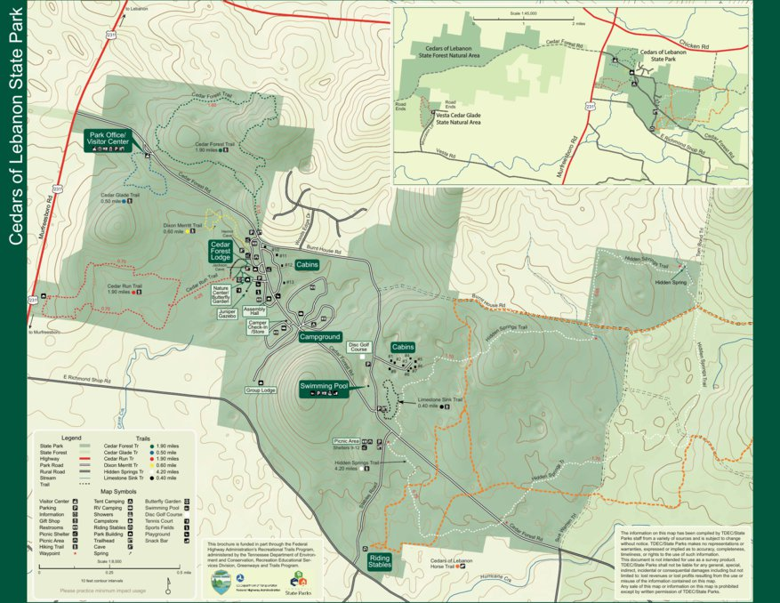 State Parks Tennessee Map.Cedars Of Lebanon State Park Tn State Parks Avenza Maps
