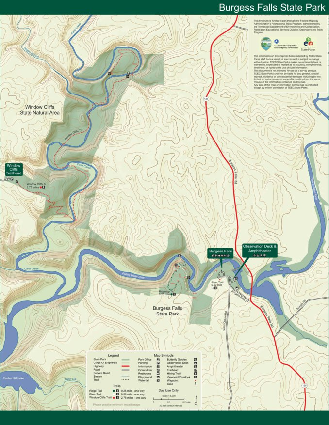 State Parks Tennessee Map.Burgess Falls State Park Tn State Parks Avenza Maps