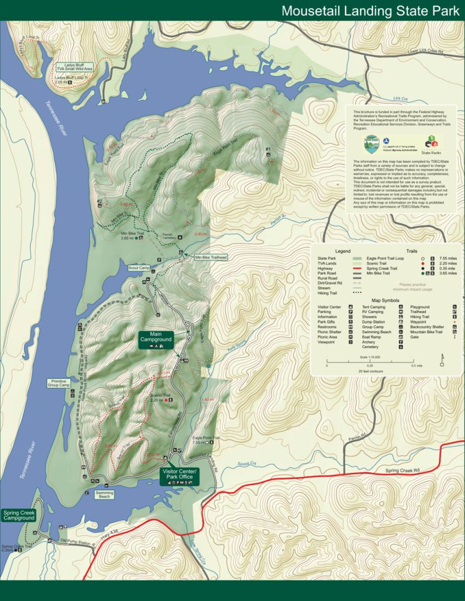 State Parks Tennessee Map.Mousetail Landing State Park Tn State Parks Avenza Maps
