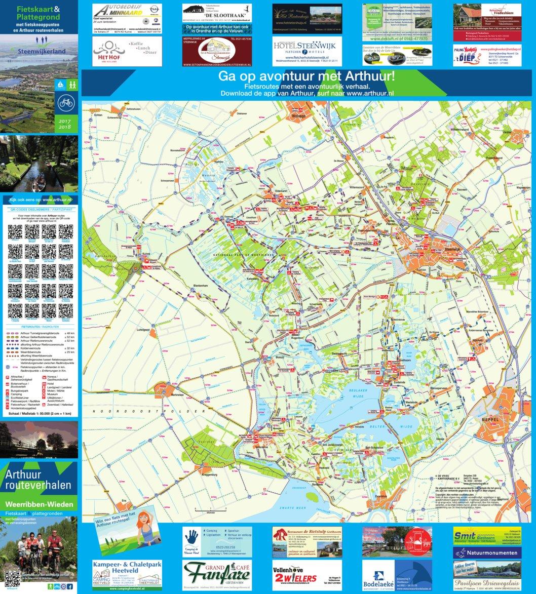 Arthuur fietsknooppuntenkaart Giethoorn Weerribben-Wieden 2017 geo