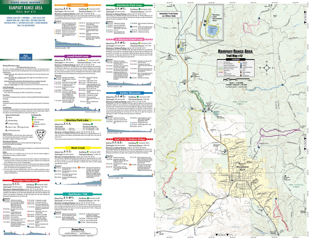 Gold Camp Area 1 Pikes Peak Region Trail Map No Sports ...