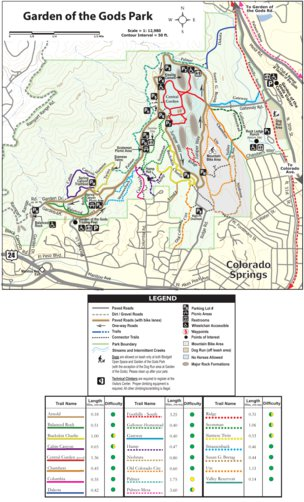 Trail Map 10 Garden Of The Gods Rampart Range Area In The