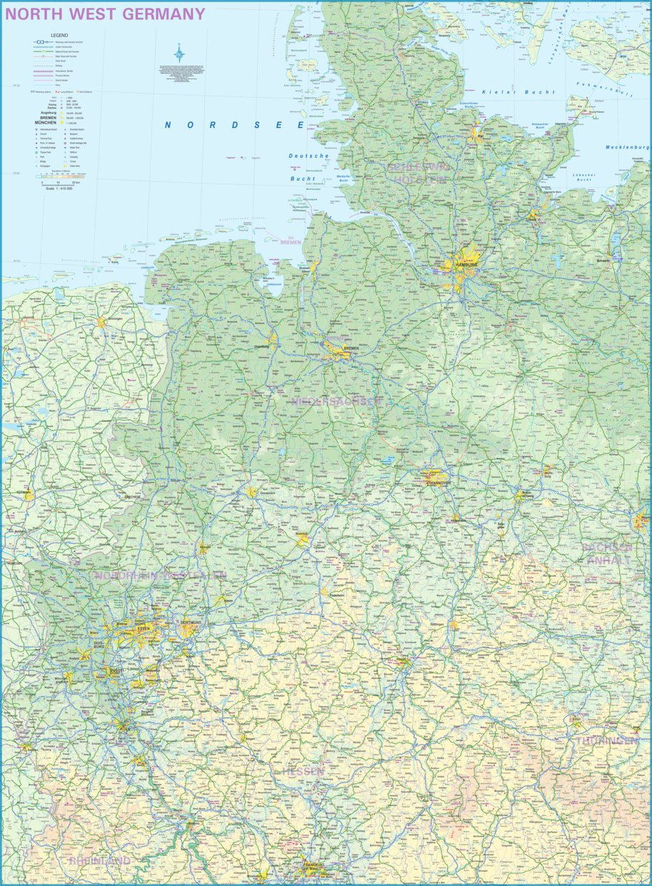 Map Of North West Germany.North West Germany 1 415 000 Itmb Itmb Publishing Ltd Avenza Maps