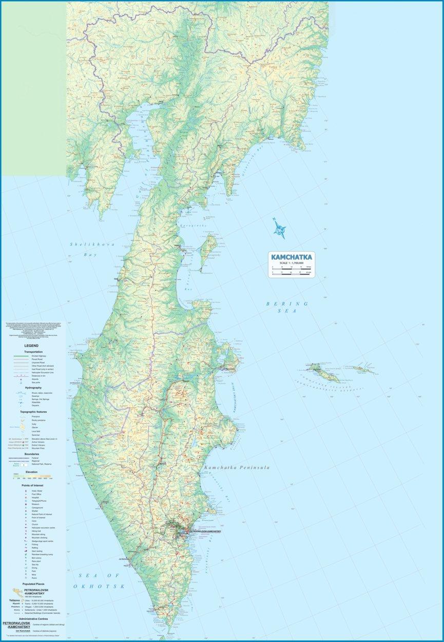 Kamchatka Peninsula Map Kamchatka Peninsula, Russia 1: 1,700,000   ITMB   ITMB Publishing
