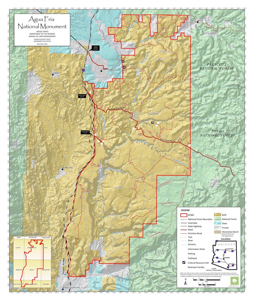 BLM Arizona Agua Fria National Monument Map (NL1001-01-01) - Bureau ...