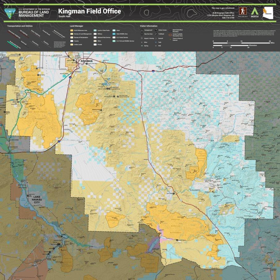 Map Of Arizona Kingman.Blm Arizona Kingman Field Office North And South Map Bundle Bureau