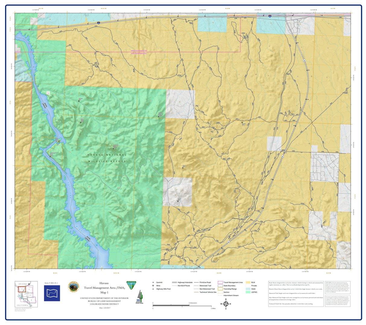 BLM Arizona Havasu Access Guide Map 1 of 7 (GPAZ_TRV2001_01_1_Havasu ...