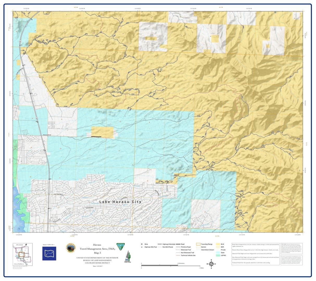 BLM Arizona Havasu Access Guide Map 3 of 7 (GPAZ_TRV2001_03_1_Havasu ...