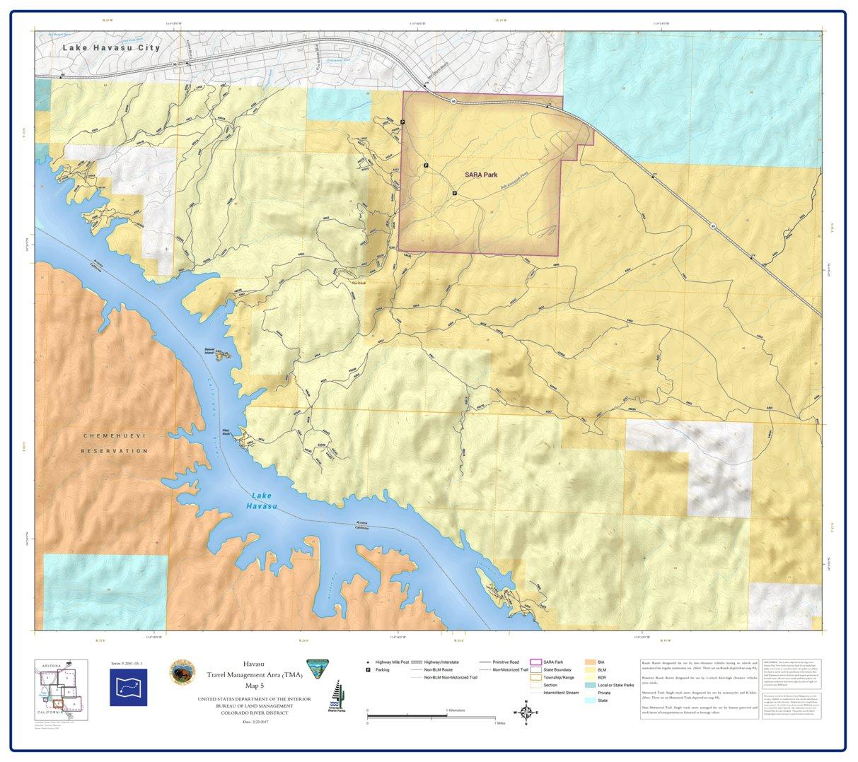 BLM Arizona Havasu Access Guide Map 5 of 7 (GPAZ_TRV2001_05_1_Havasu ...