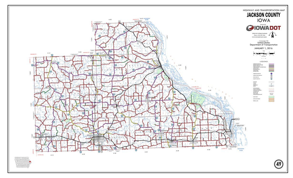 Jackson County Iowa Map.Jackson County Iowa Iowa Department Of Transportation Avenza Maps