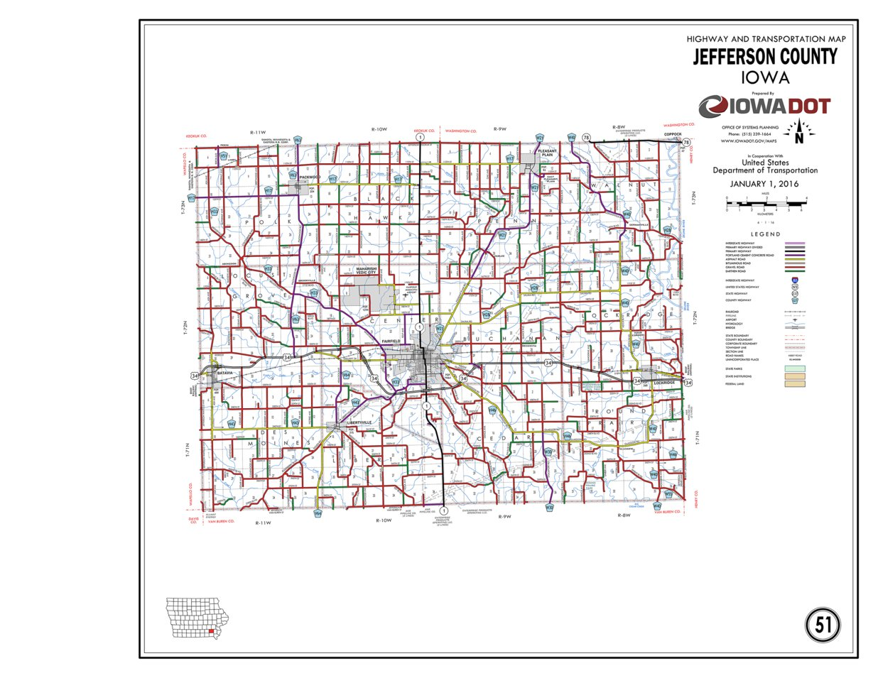 Jefferson County Iowa Map.Jefferson County Iowa Iowa Department Of Transportation Avenza Maps