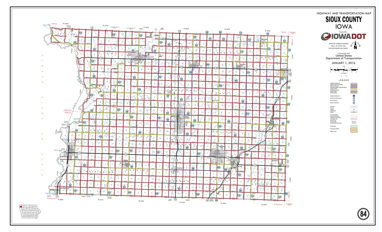 Sioux County Iowa Map.Sioux County Iowa Iowa Department Of Transportation Avenza Maps
