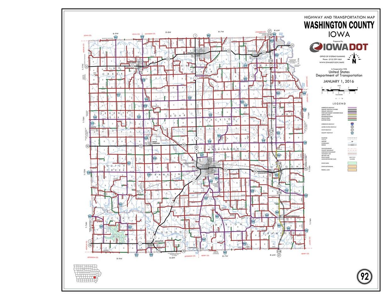 Washington County Iowa Map.Washington County Iowa Iowa Department Of Transportation Avenza