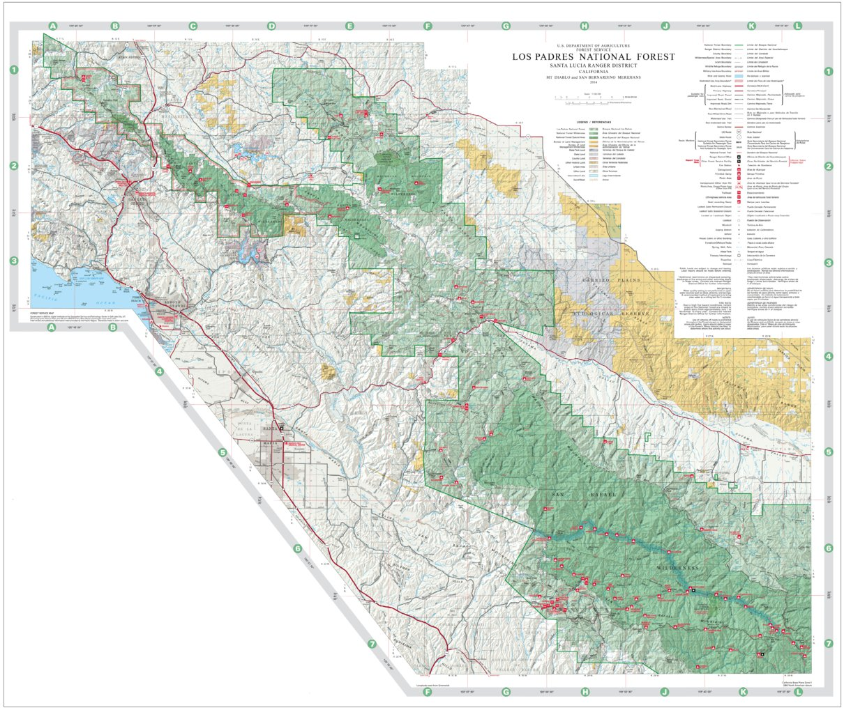 Los Padres National Forest Map Los Padres National Forest Visitor Map (Central)   US Forest