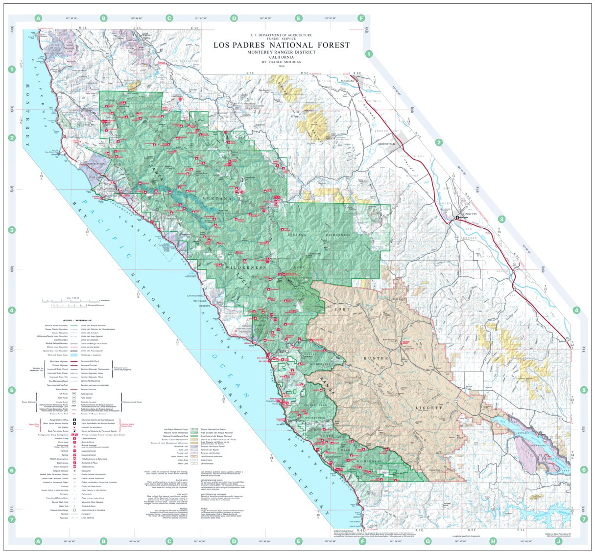 National Forests In California Map.Los Padres National Forest Visitor Map North Us Forest Service