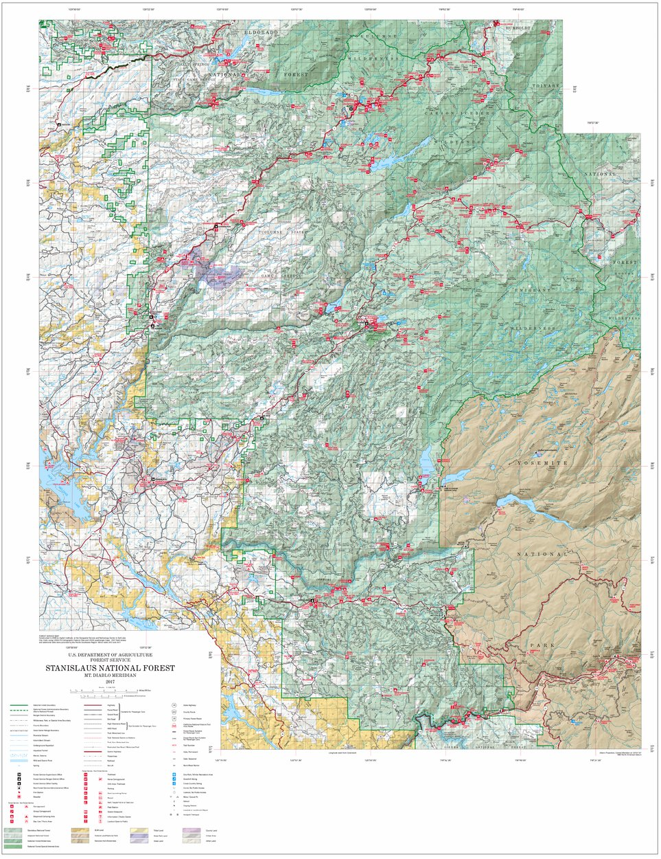 Stanislaus National Forest Visitor Map US Forest Service R5