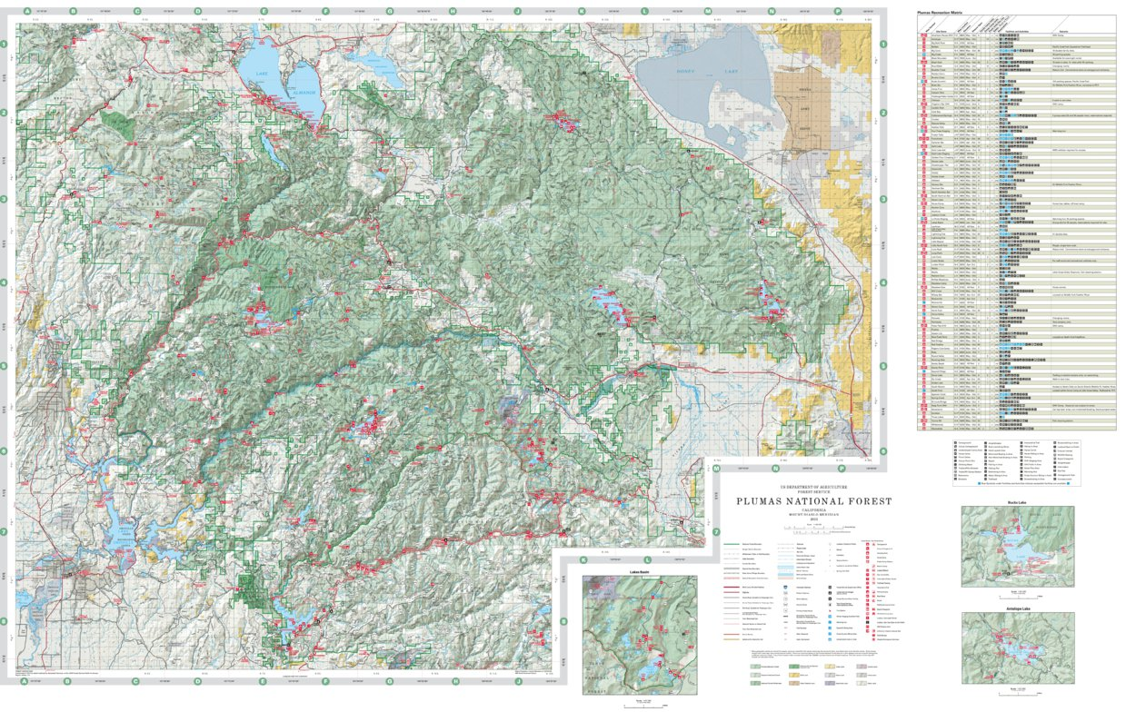 Plumas National Forest Visitor Map US Forest Service R5 Avenza Maps