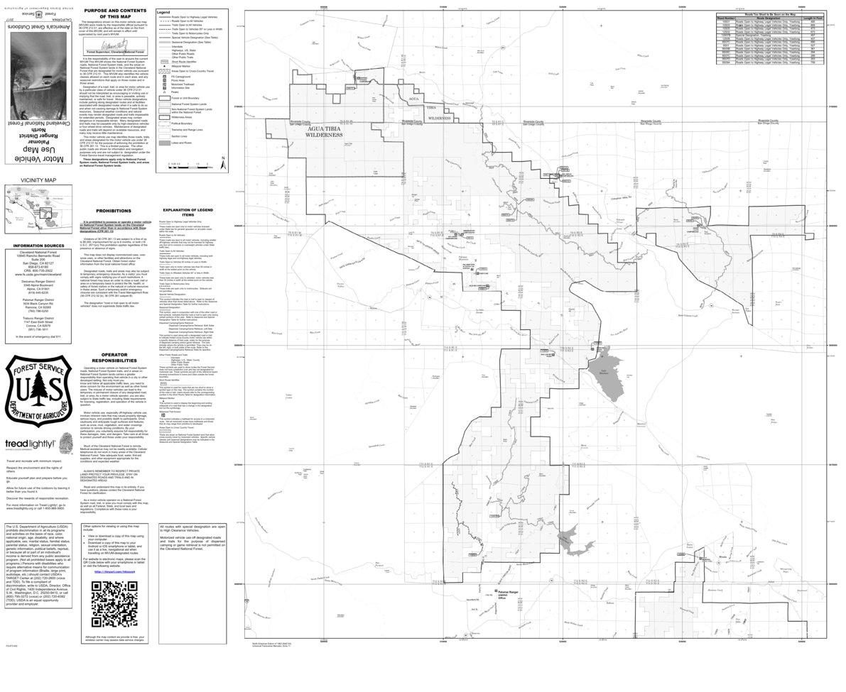 Cleveland MVUM - Palomar (north) - US Forest Service R5 - Avenza Maps