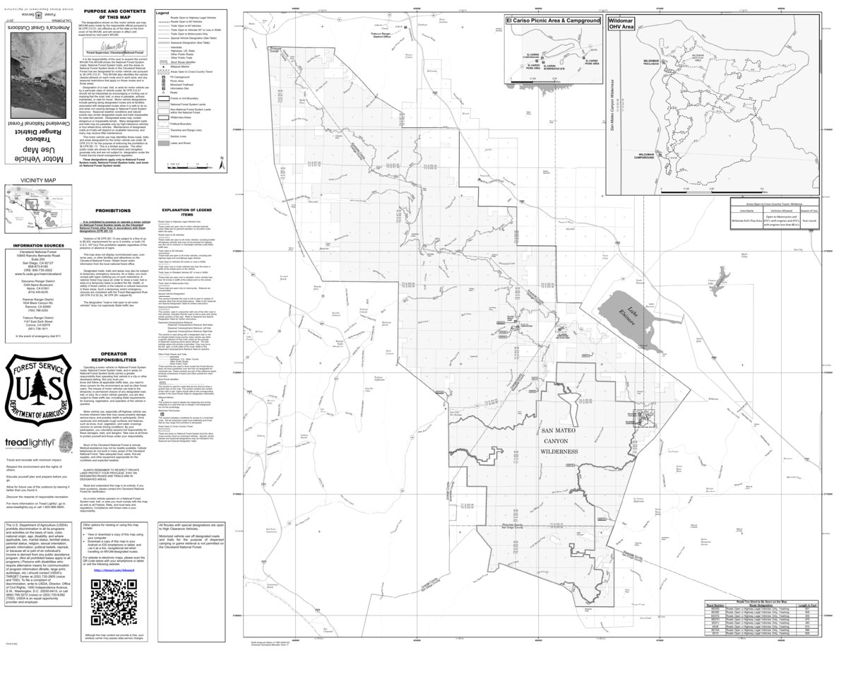 Cleveland MVUM - Trabuco - US Forest Service R5 - Avenza Maps