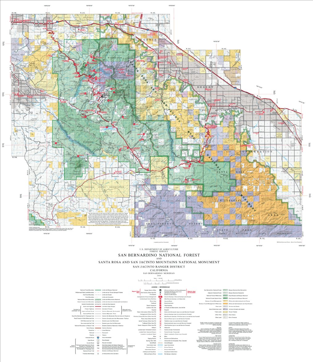 San Bernardino National Forest Visitor Map South Us Forest - Us-forest-cover-map