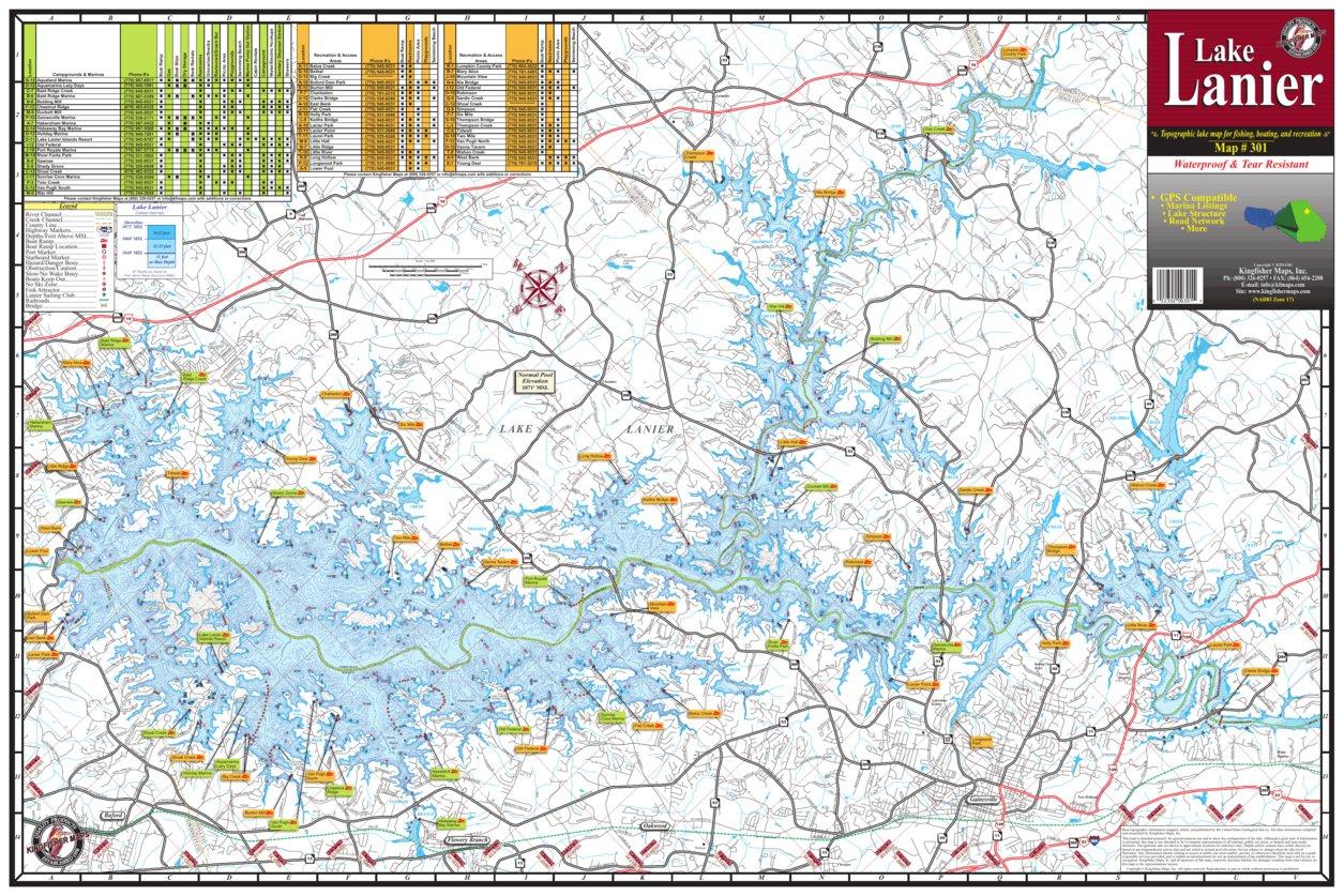 lake lanier fishing map Lake Lanier Ga Map 301 Kingfisher Maps Inc Avenza Maps lake lanier fishing map
