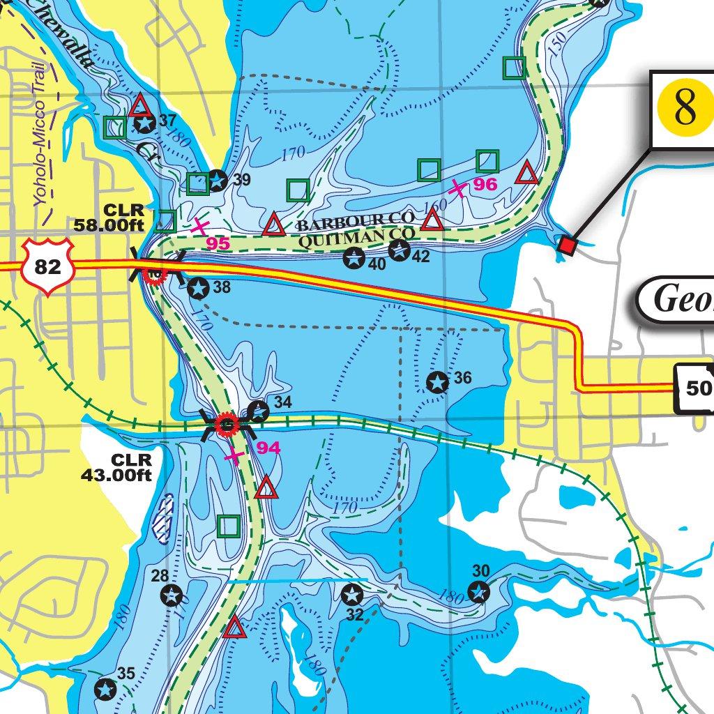 lake eufaula fishing map Lake Eufaula 308d Kingfisher Maps Inc Avenza Maps lake eufaula fishing map